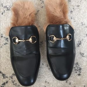 Faux leather & fur slides / mules w/ gold hardware